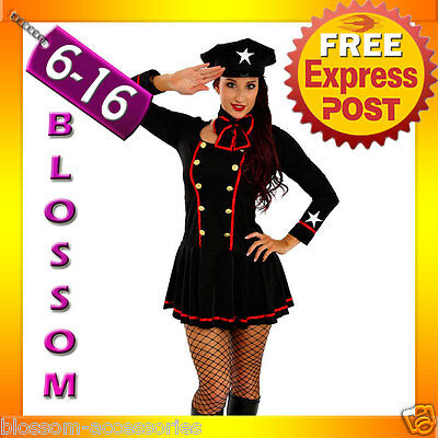Air Hostess Fancy Dress (F44 Ladies Captain Pilot Officer Fancy Dress Army Air Hostess Costume)