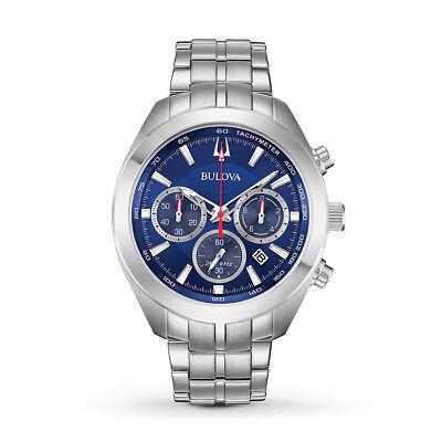 Bulova Men's 96B285 Quartz Chronograph Blue Dial Silver-Tone 44.5mm Watch