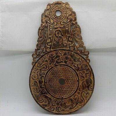 Chinese hand carve jade openwork Disc with Chi dragon dancing human grains D242