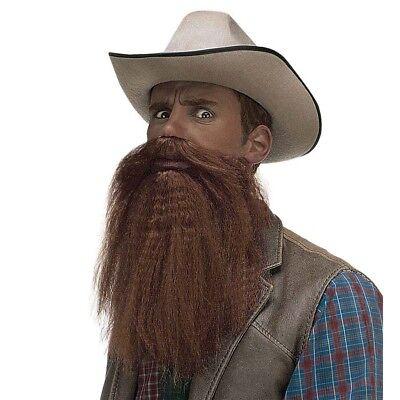 BRAUNER VOLLBART & LIPPEN Karneval Cowboy Farmer Doktor Rocker Kostüm Bart 1686