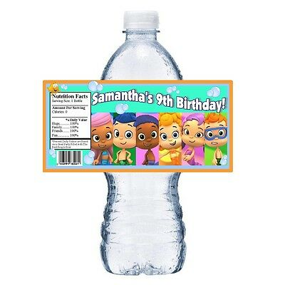 20 BUBBLE GUPPIES PERSONALIZED BIRTHDAY PARTY FAVORS WATER BOTTLE LABELS WRAPS - Bubble Guppies Favors