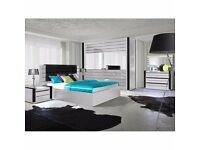 LINCOLN Delivery 1-10 days BEDROOM SET King Size Bed Wardrobe WHITE or BLACK Barnd New