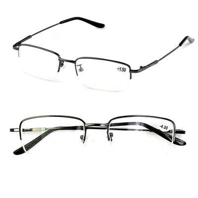 Classic Square Metal Half Rimless Myopia Glasses Nearsighted Eyeglasses US (Nearsighted Eyeglasses)