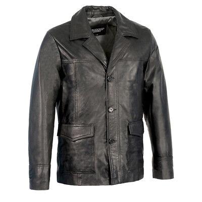 Milwaukee Leather Men's Leather Car Coat Jacket w/ Button Front  *SFM1870 BLACK