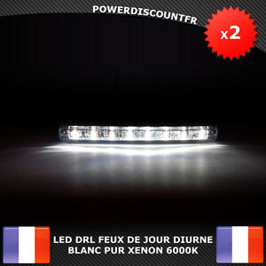 led drl feux de jour avant phare diurne eclairage voiture auto 8 led blanc xenon ebay. Black Bedroom Furniture Sets. Home Design Ideas