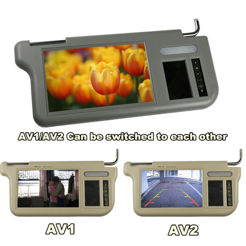 "2PC 7"" Car 2 Channel Video Sun Visor Rear View Mirror LCD Monitor Touch Button"