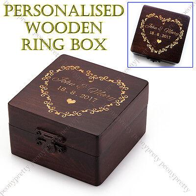Personalized Square Wooden Retro Wedding Ring Box Custom Ring Bearer Box Gift s