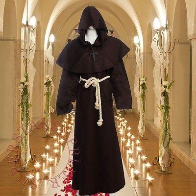 Mittelalterliche Mönchskutte mit Kapuze Mönch Roben braune Uniform Tuch (Kostüme Roben)