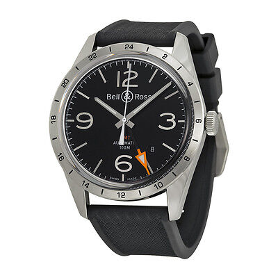 Bell and Ross Vintage Black Dial Mens Watch BRV123-BL-GMT-SRB