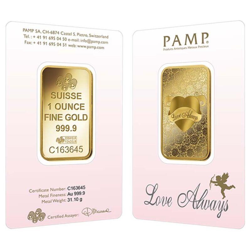 1 Oz Pamp Suisse Gold Bar - Love Always (in Assay) .9999 Fine