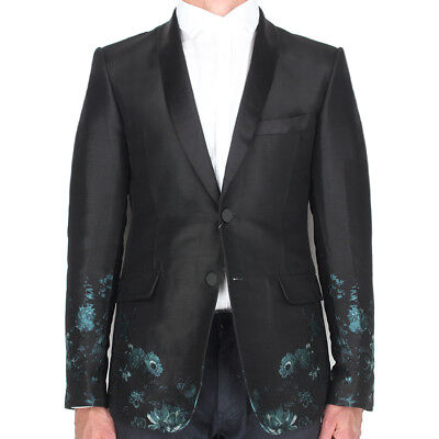Alexander McQueen Black Floral Jacquard Tailored Slim Fit Jacket IT46 UK36