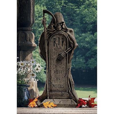 Cemetery Tombstone Grim Reaper Ghoulish Grave Marker Halloween Prop