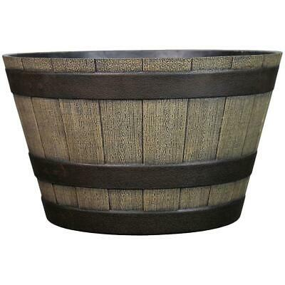 WHISKEY BARREL PLANTER Wine Half Apple Plastic Plant Flowers Weather Resistant  Plastic Whiskey Barrel