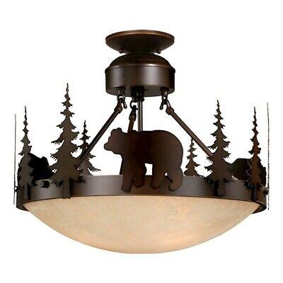 18 Semi Flush (Vaxcel Bozeman 18' Semi-Flush Ceiling Light Burnished Bronze - CF55718BBZ)