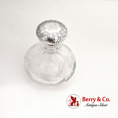 Gorham Floral Scroll Cologne Bottle Cut Glass Sterling Silver Mono AN