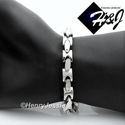 """8.5""""MEN's Stainless Steel HEAVY 8mm Silver Interlock Bones Link Chain Bracelet"""