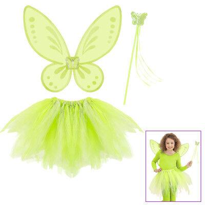 FEEN KOSTÜM KINDER GRÜN Tütü Flügel Feenstab Karneval Elfen Dress-Up Set # - Grüne Dress Up Kostüm
