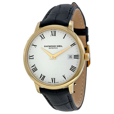 Raymond Weil Toccata White Dial Black Leather Strap Mens Watch 5588-PC-00300