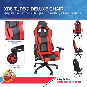 Deluxe Racing Chair Gamer Chair Red Black Futuristic Office Chair Gaming Chair