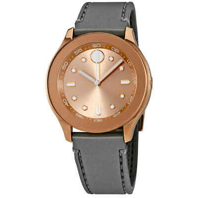 Movado Bold Rose Dial Charcoal Gray Silicone Ladies Watch 3600458