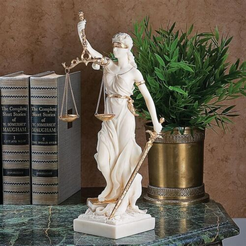 Themis Blind Goddess of Justice Scales Sculpture Statue Marble Lawyer Gift