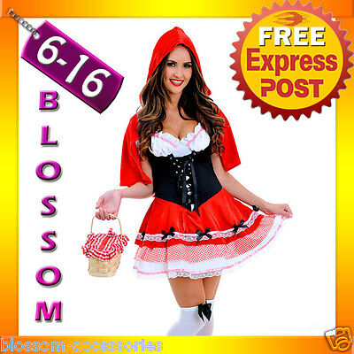 J71 Ladies Little Red Riding Hood Party Fancy Dress Up Halloween Costume Outfit ()