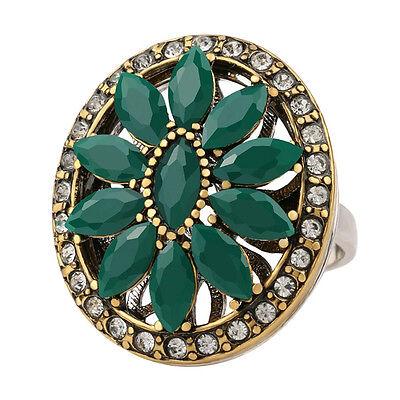 (Rhinestone Hurrem flower middle eastern style womens agate resin fashion ring US)