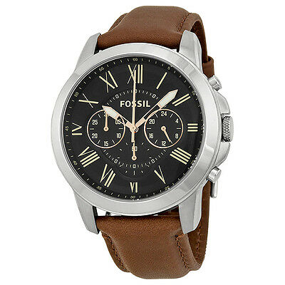 Kyпить Fossil Grant Chronograph Black Dial Brown Leather Mens Watch FS4813 на еВаy.соm