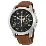 Fossil Grant Chronograph Black Dial Brown Leather Mens Watch FS4813