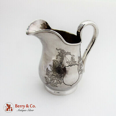 Engraved Chrysanthemum Creamer Chinese Export Silver 1840