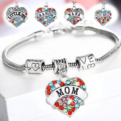 Mom Bangle Bracelet (Multicolor Family Charm Chain Love Grandma Bracelet Mom Sister Friends Bangle)