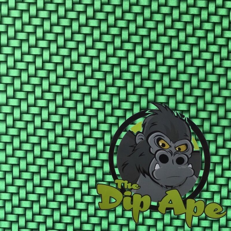 CANDIED GREEN CARBON FIBER WEAVE HYDROGRAPHIC WATER TRANSFER HYDRO FILM DIP APE