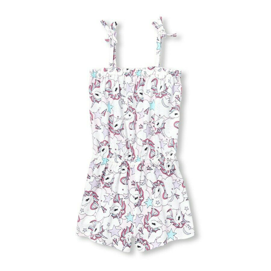 NWT The Childrens Place Unicorn Toddler Girls White Romper Sunsuit 2T 3T 4T 5T