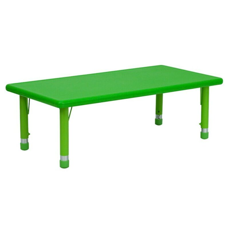 "Flash 24""Wx48""L Height Adjustable Rectangular Green Plastic Activity Table"