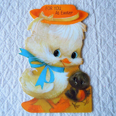 Vintage 1970 Baby Duck and Bird with Orange Hat Easter Greeting Card