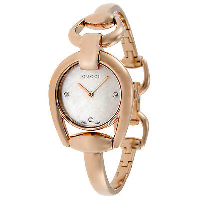 Gucci Horsebit Mother of Pearl Dial Rose Gold PVD Ladies Watch YA139508