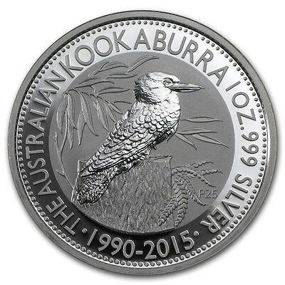 2015 Australian Kookaburra 1 Oz .999 Silver Coin - 25 YEAR ANNIVERSARY