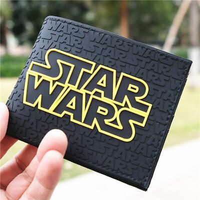 Star Wars Logo PVC Wallet Mens Short Bifold Zipper Coin Cards Moneybag Purses