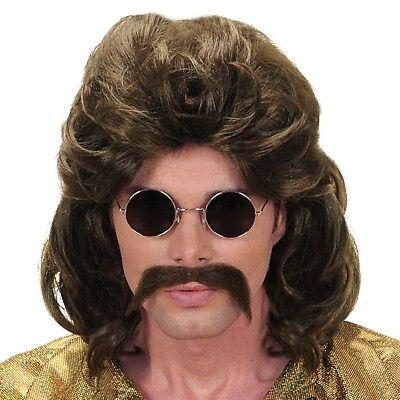 70er JAHRE PERÜCKE & BART # Night Fever Disco Macho Schlager Kostüm Hippie - Perücke Disco Kostüm Accessoires