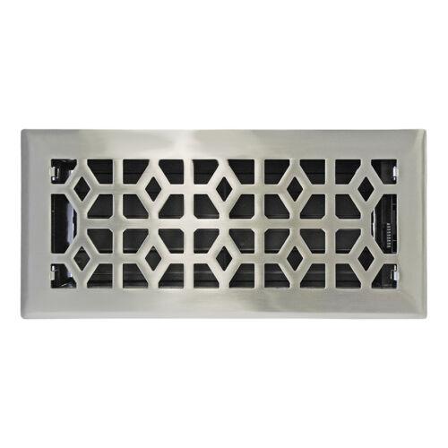 "4"" x 10"" Satin Nickel Metal Floor Diffuser Register Vent Cover Heating AC HVAC"