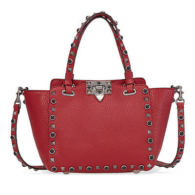 Valentino Rockstud Rolling Mini Leather Tote - Red