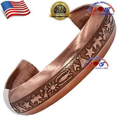 PURE COPPER NON MAGNETIC CUFF BANGLE BRACELET WOMEN ARTHRITIS MADE IN USA SB21 Copper Non Magnetic Wristband