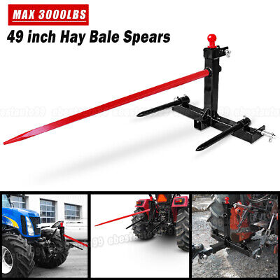 Category 1 Tractor 3 Point Attachment W49 Hay Bale Spear 2 17 Stabilizers