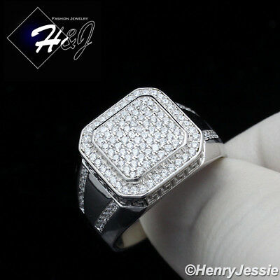 925 Sterling Silver Greek Key - MEN 925 STERLING SILVER LAB DIAMOND ICED OUT BLING SQUARE GREEK KEY RING*SR115