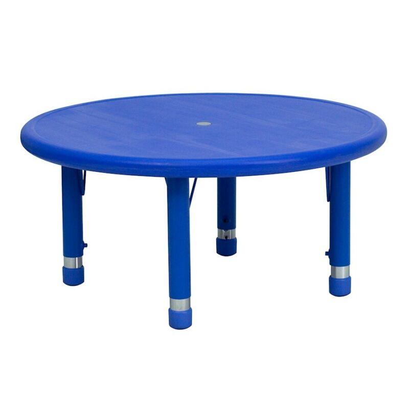 "Flash 33"" Round Height Adjustable Blue Plastic Activity Table"