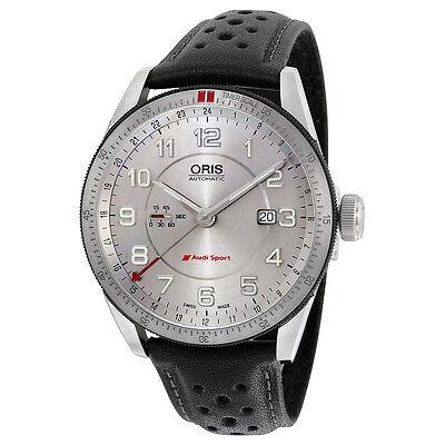 Oris Artix Audi Sport GMT Automatic Silver Dial Black Leather Mens Watch