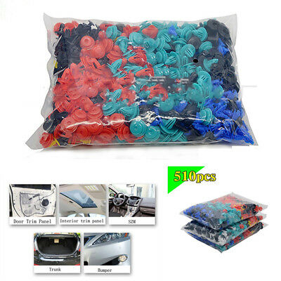 510 Pcs Universal 8 Kinds Fastener Rivet Door Panel Fender Liner For All Car SUV