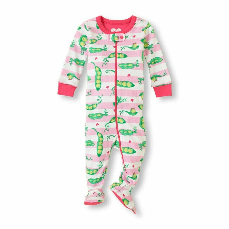 THE CHILDREN'S PLACE 1PC HAPPY PEAS GIRLS FOOTED STRETCHIE S