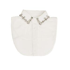 White Diamante Embellished Collar Bib False Collar Fake Half Shirt