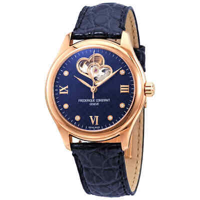 Frederique Constant Double Heartbeat Navy Diamond Dial Automatic Ladies Watch